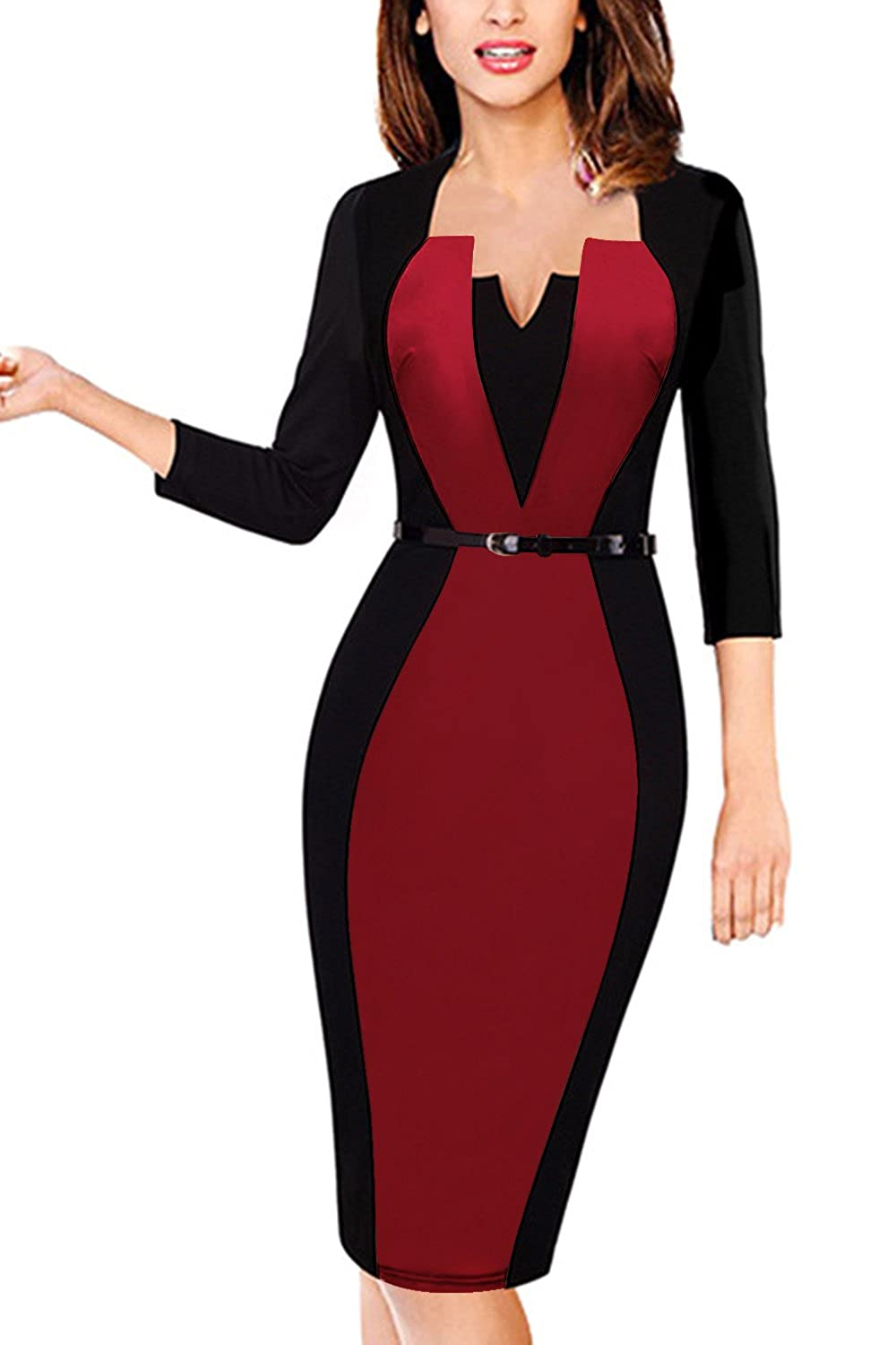 MisShow Women's Colorblock 3/4 Sleeve Wear to Work Business Bodycon One-Piece Dress