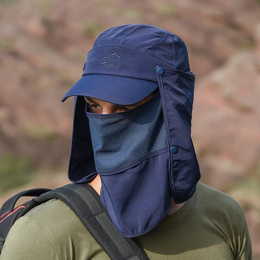 Lazzon Uomo Cappello da Sole Protezione UV Collo Coperchio Pescatore Cappellino Asciugatura Rapida Grande Tesa di attivit/à allAria Aperta Ciclisti Pesca