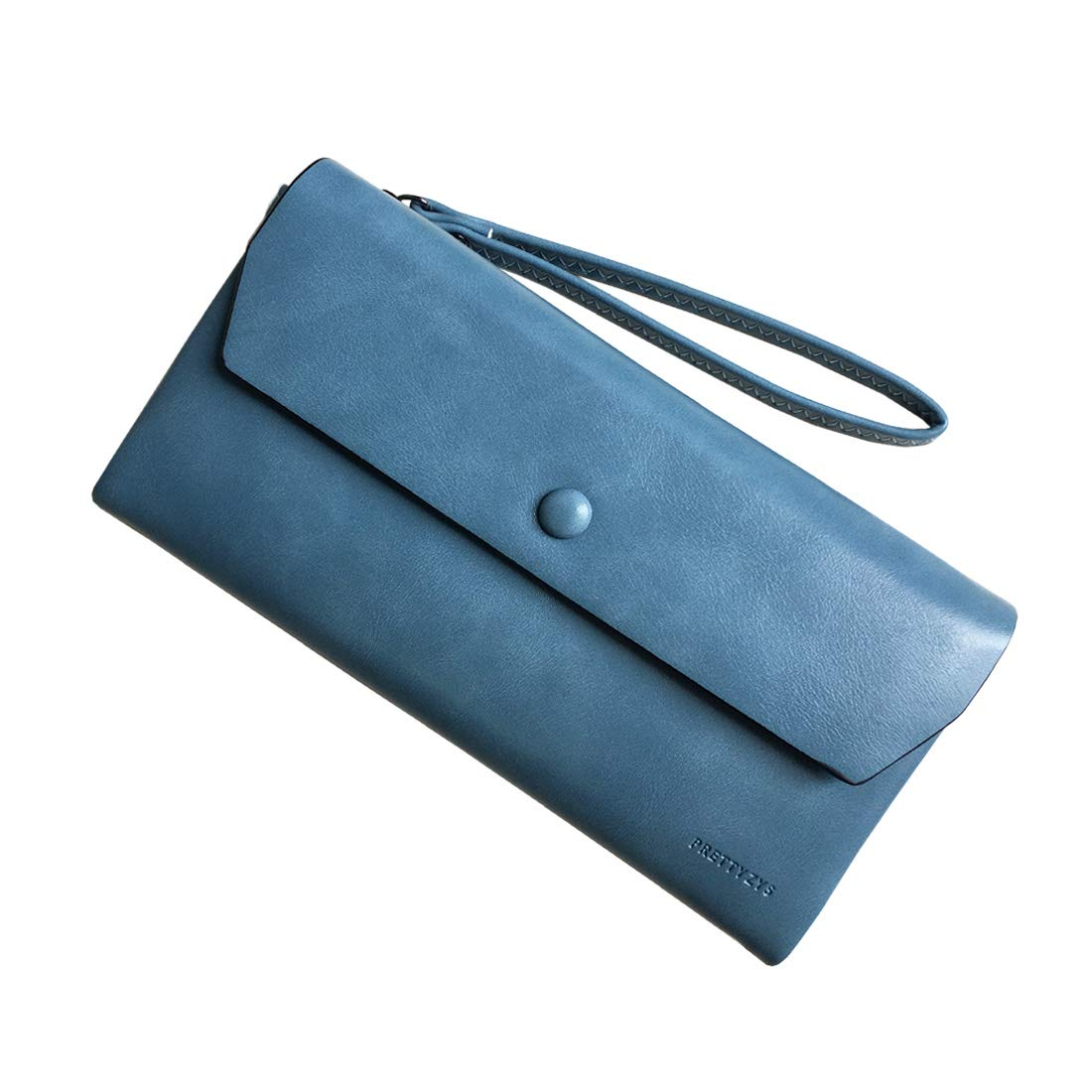Rfid women's wallets ladies Leather Wristlet organizer with phone slot large capacity (Blue2)