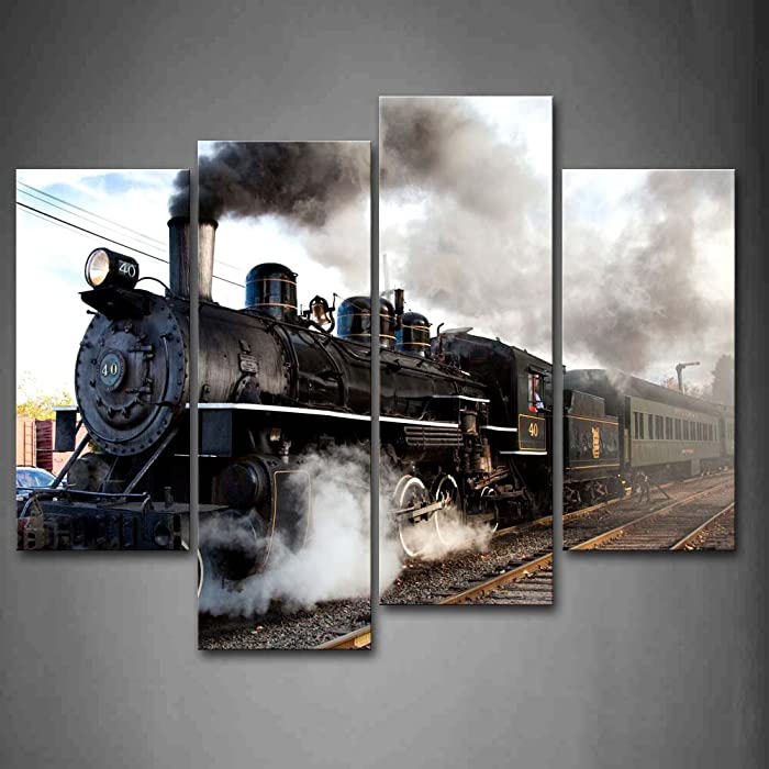 A Car And Train With Gray Smoke Steam Trains In Progress Wall Art Painting The Picture Print On Canvas Car Pictures For Home Decor Decoration Gift
