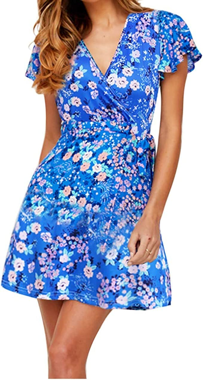 Frauen Kleid V-Ausschnitt Rüschen Mini Beiläufig Polyester Damen Strand