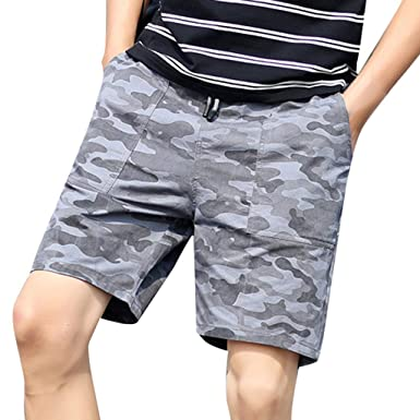 3f7c29d25a Men's Casual Multi-Pocket Cargo Camouflage Shorts Loose Belted Outdoor Wear  Work Board Pants (