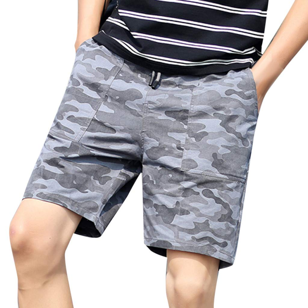 aiNMkm Mens Beach Shorts Casual,Men's New Summer Casual Loose Patchwork Camouflage Printing Beach Shorts Pants,Gray,2XL