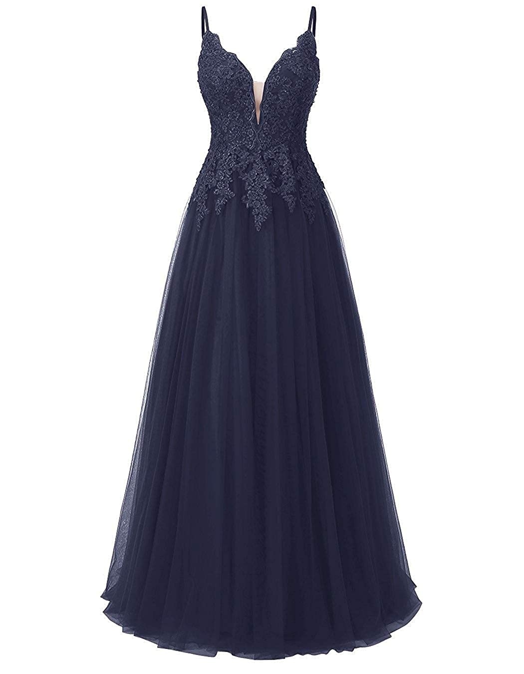 Navy bluee JAEDEN Prom Dresses Long Evening Gowns Tulle Evening Dresses for Party Lace Bridesmaid Dress Long Party Dress