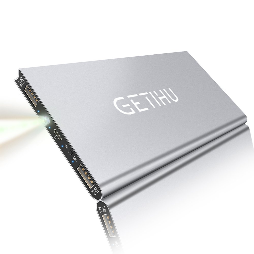 GETIHU Phone Charger 10000mAh Portable Power Bank Ultra Slim LED Flashlight Mobile External Battery Backup Thin 2 USB Ports Powerbank for iPhone X 8 7 6 Plus Android Cell Phone iPad (Silver)