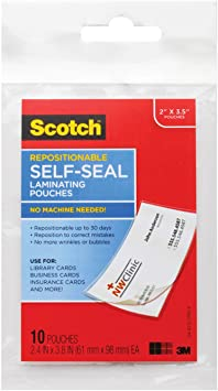 Scotch Self-Sealing Laminating Pouches PL903G 2.5 Inches x 3.5 Inches Gloss Finish 5 Pouches