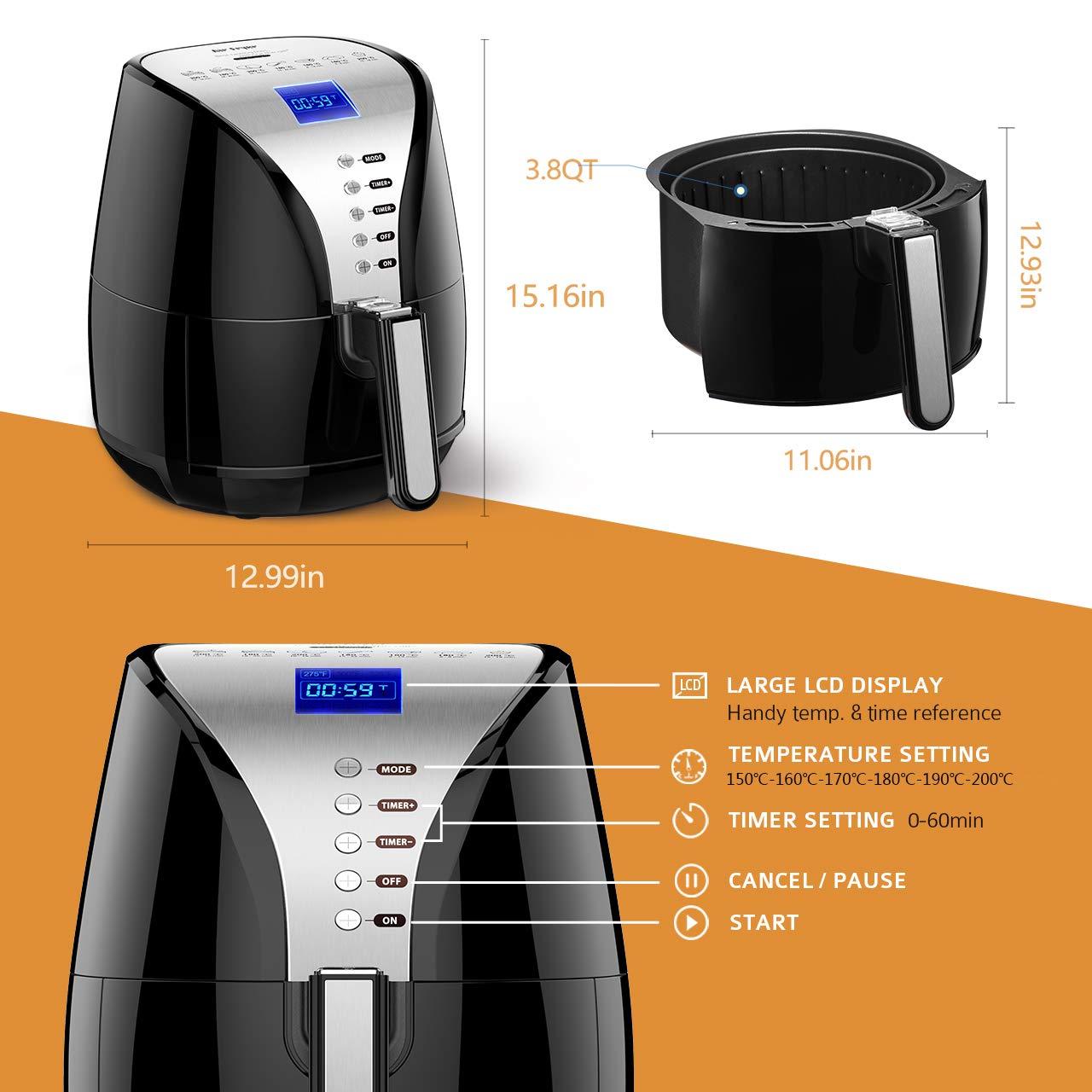 Freidora por aire, freidora sin aceite, bajo en grasa, freidora por aire saludable, 3,6 litros, gran capacidad, pantalla LED, 1500 W, para cocinar alimentos ...