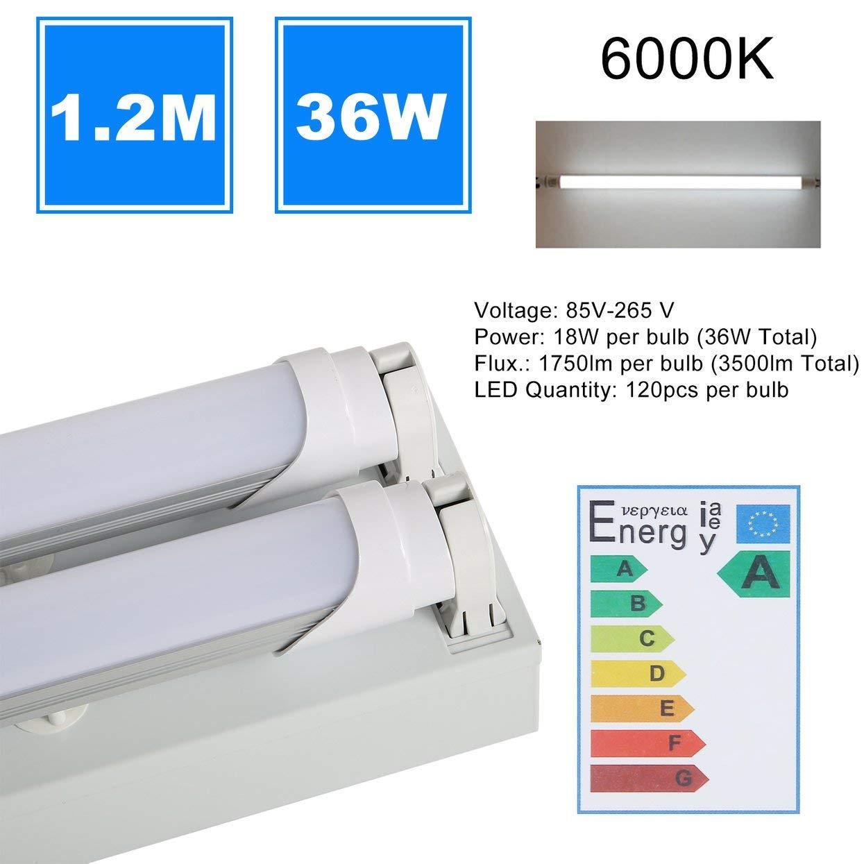 36W 6000K Shop Lamp Durable Garage Grill Light Fixture With 2 PCS T8 Tube Lights 1.2M Super Bright Warehouse Light