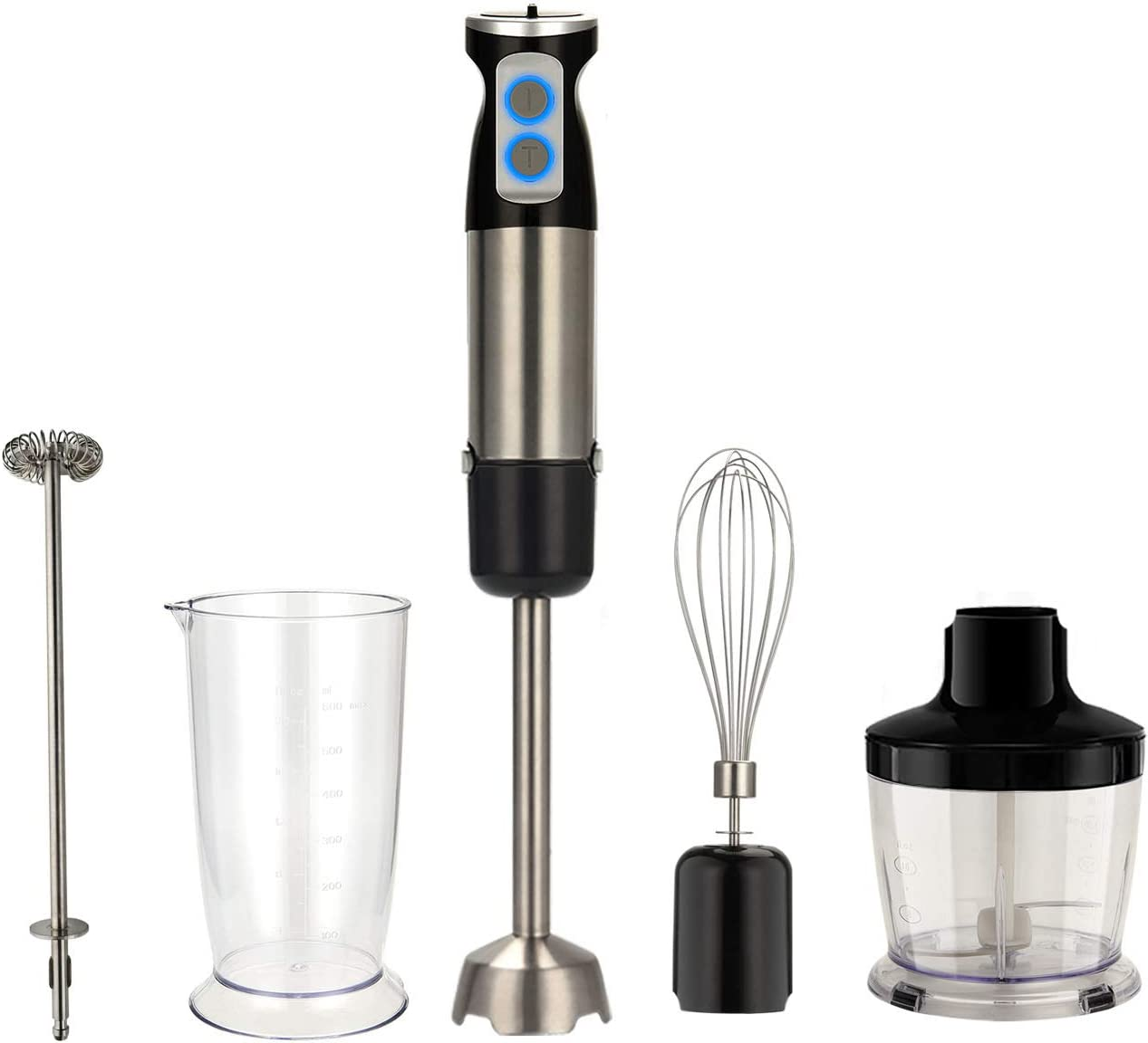 Hovico Immersion Blender, 5-in-1 Immersion Hand Blender Multifunctional, 6 Speed Stainless Steel Immersion Stick Blender with Milk Frother,500ml Chopper, Egg Whisk, 600ml Container