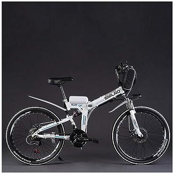 MERRYHE Bicicleta eléctrica Plegable Ciclomotor para Adultos Ciudad Montaña Bicicleta 48v Batería de Litio 26 Pulgadas Bicicleta de Potencia,White-Retro ...