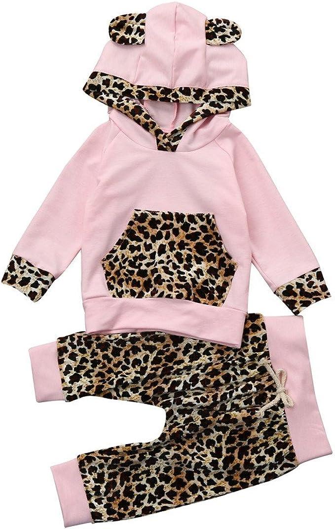 MAYOGO Ropa Leopardo Bebe Niña Conjunto de Top Hooded y Pantalon ...