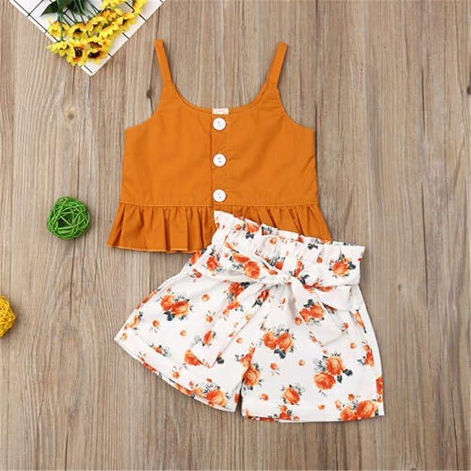 Wang-RX Niño pequeño Bebé Niña Sling Tops Floral Shorts ...