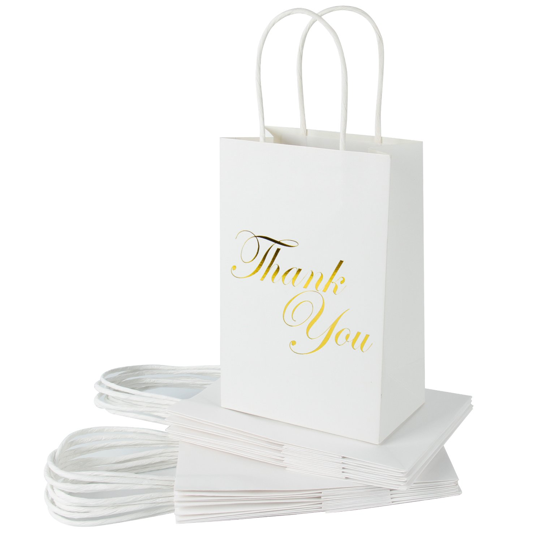 RUSPEPA Medium Kraft Gift Bags -Thank You Gold Foil White Paper Gift Bag Set for Express Gratitude-12Pack -5-1/2'' X 3-1/4'' X 8-3/8''