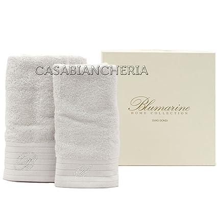 6b3618919b Coppia asciugamani di spugna blumarine crociera-Ghiaccio: Amazon.it: Casa e  cucina