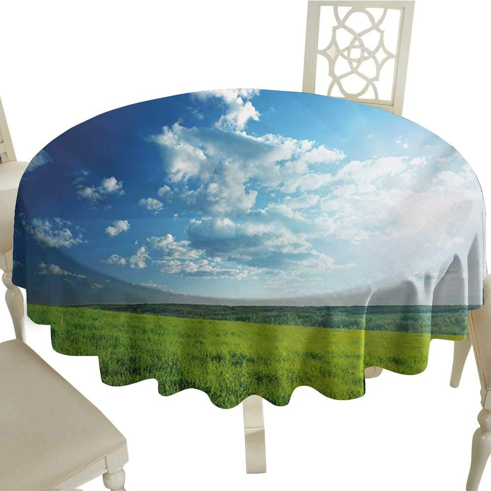 cobeDecor Easy Care Tablecloth NatureRefreshing Meadow Valley Under Cloud Sun Sky Spring Grass Country ImageLime Green Pale Blue