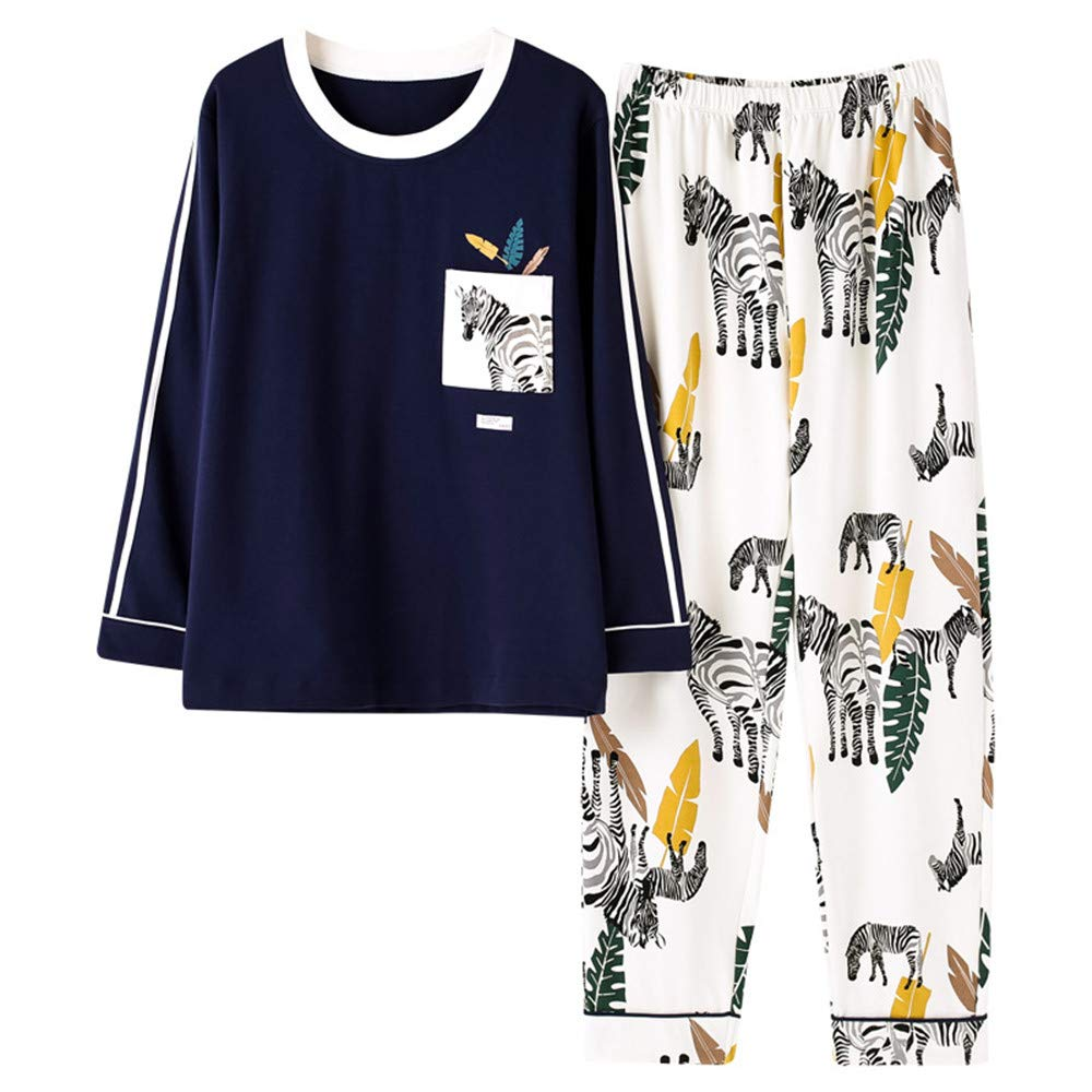 Mmllse Conjuntos De Pijama De Manga Larga Pijamas Vestido De Estampado De Estampado De Cebra De Plantas De Moda Suelta Ropa De Casa para Dormir De Pareja ...