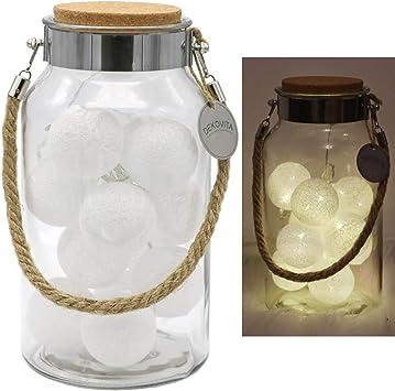 Dekovita Linterna de vidrio 30cm con Tronje 10 LED Bolas de ...