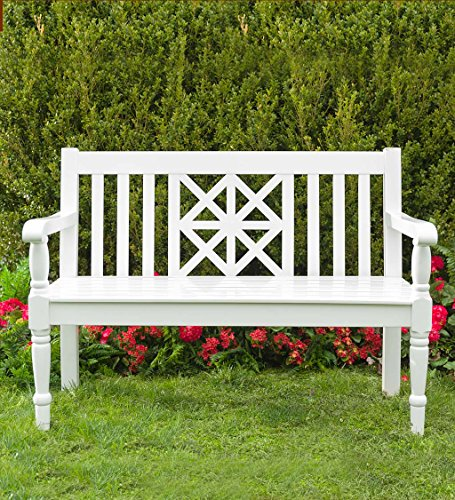 Legacy Diamond Eucalyptus Outdoor Bench - White (Benches White Outdoor)