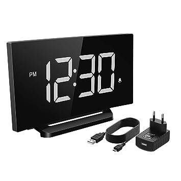 Mpow Reloj Despertador Digital, Reloj de Pantalla Curva LED de 5 pulgadas y Atenuador, 3 Sonidos de Alarma con 4 Brillo,Snooze con Ataptador para ...