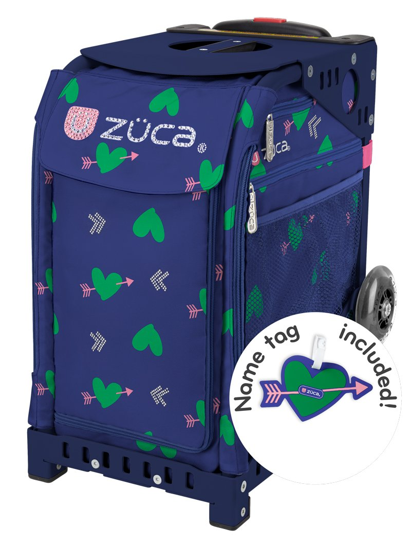 Zuca Cupid Sport Insert Bag and Navy Blue Frame with Flashing Wheels