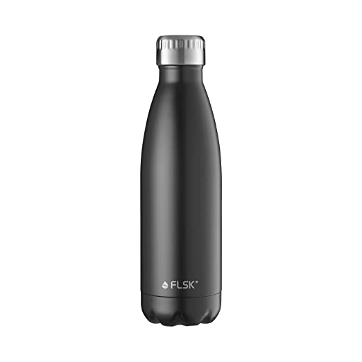 FLSK – Botella 500 ml Botella térmica | Negro de Acero Inoxidable | Botella Aislante Mantiene 18H Caliente, 24h fría, Jarra térmica