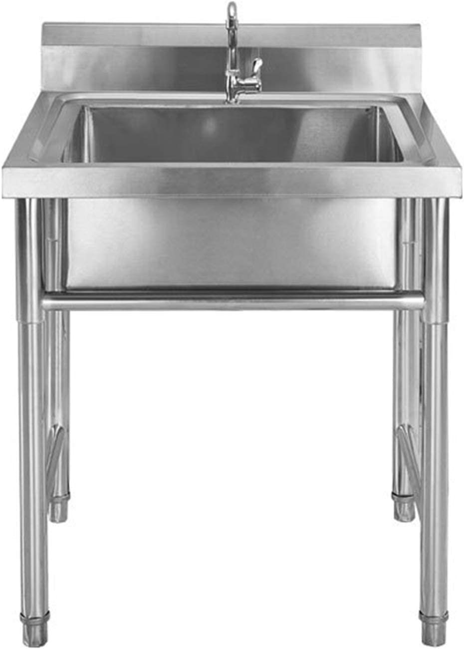 Stainless Steel Prep & Utility Sink, 1 Commercial Compartment Sink for Outdoor Indoor Garage Kitchen Laundry Size 50 X 50 X 80cm