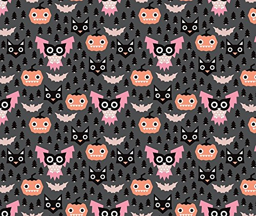 [Halloween Fabric Geometric Pumpkin Cats And Halloween Illustration Pattern by Littlesmilemakers Printed on Fleece Fabric by the Yard by Spoonflower] (Custom Halloween Pattern)