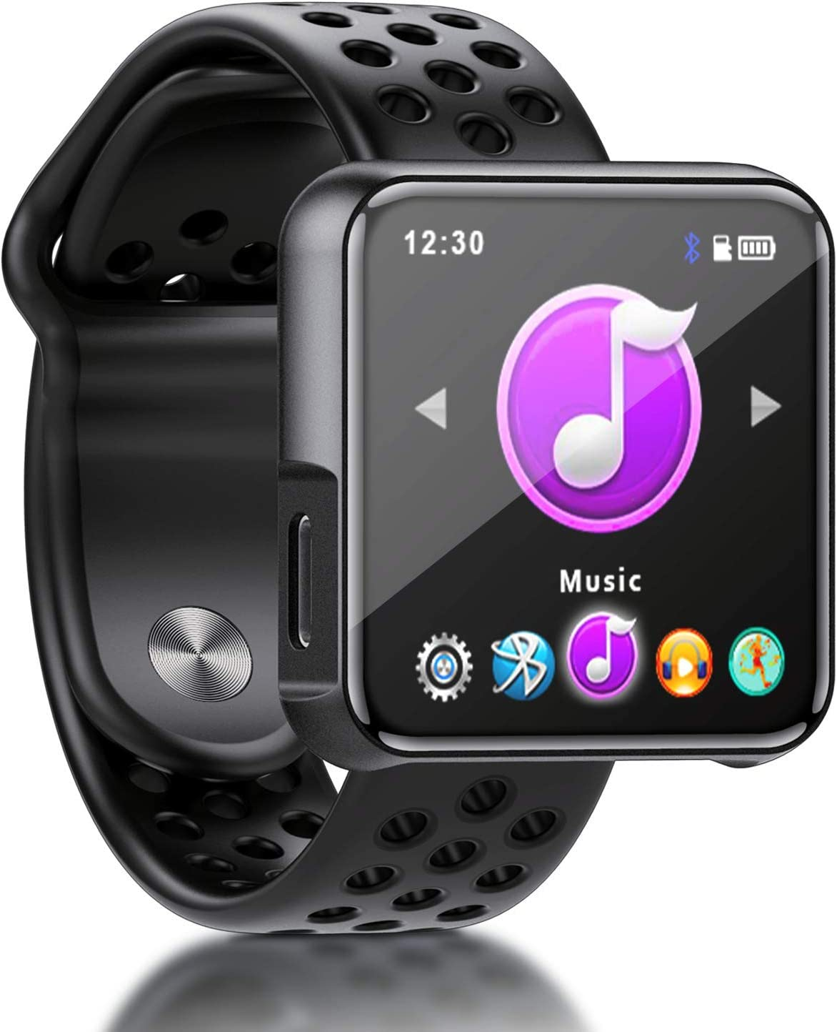 SEWOBYE Reproductor MP3 Player de 16GB, Reproductor mp3 Bluetooth 4.2 de Pantalla Completa Táctil, MP3 Deporte con Clip y Correa de Reloj, Tarjeta de 128GB TF Ampliable (Black)