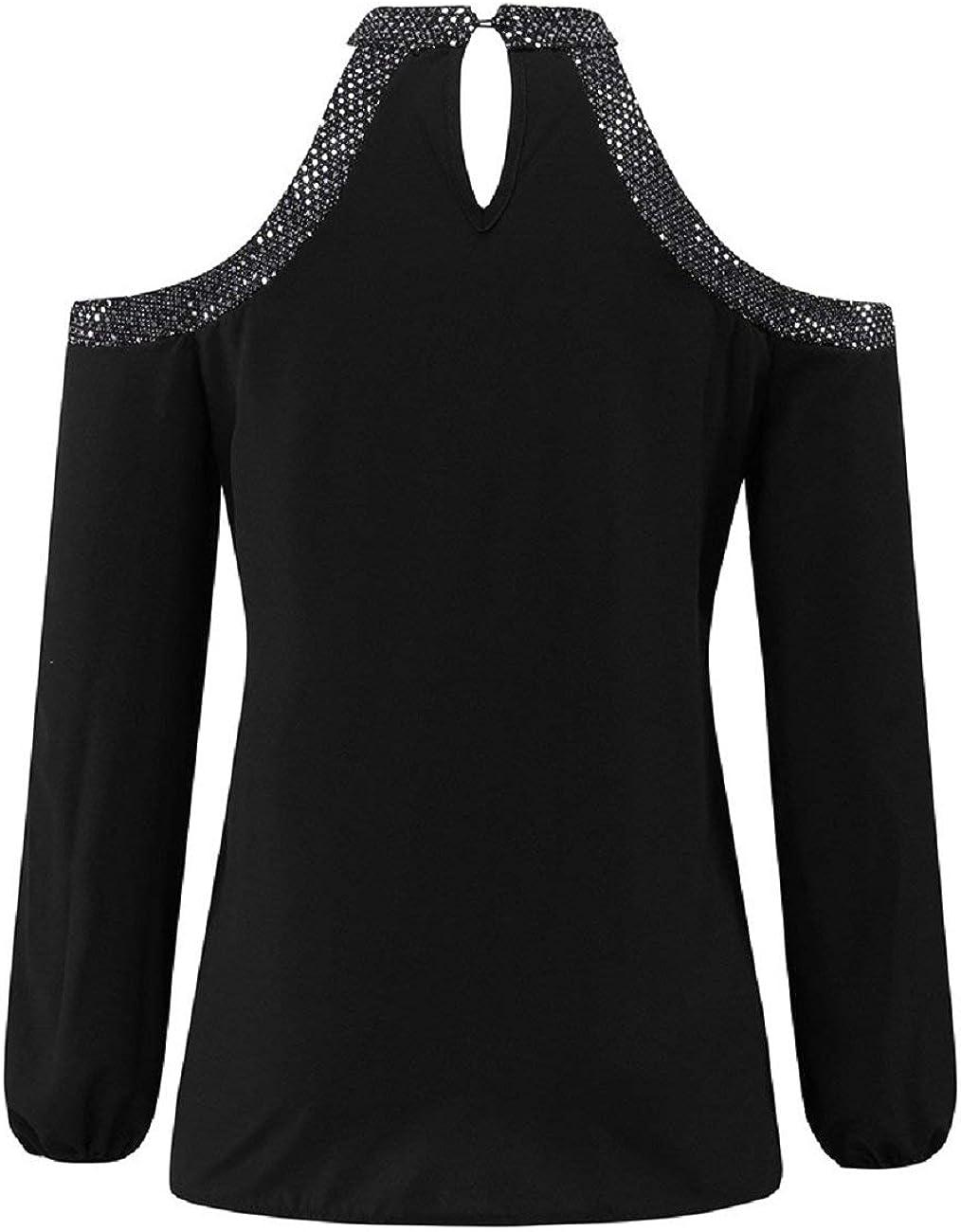 Nicolarisin Cold Shoulder Tops for Women Long Sleeve Blouse Shirts Keyhole Back