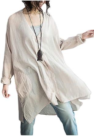 Blusa De Lino De Mujer con Blusa Larga Camiseta Blusa Sencillos De Lino De Algodón con Cuello En V Camisa De Cuello Alto De Manga Larga con Cuello En V Suelta Estilo: