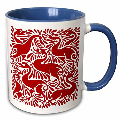 3dRose Russ Billington Designs - Quirky Red and White Victorian Ducks Splashing - 15oz Two-Tone Blue Mug (mug_220845_11)