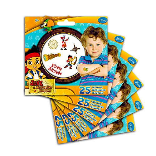 Jake and the Never Land Pirate Party Favors Set -- 150 Pirate Temporary Tattoos for Kids Boys Girls Toddlers (6 Party Favor Packs)]()