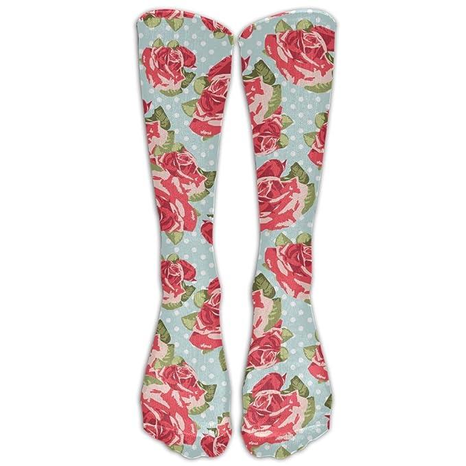 57efaf6c7334b Amazon.com: High Boots Crew Pink Roses Compression Socks Comfortable ...