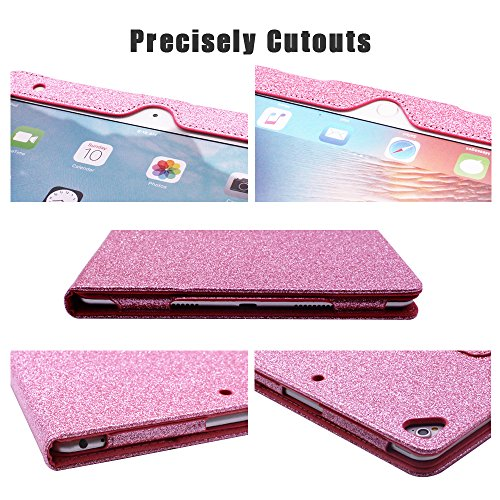 2018 NEW iPad/iPad Air/Air2/Pro 9.7 Glitter Case,FANSONG Bling Sparkle PU Leather Smart Cover [Flip Stand Function] [Auto Sleep/Wake] Universal Case for Apple iPad Air/Air2/Pro 9.7 (Bling Pink) by FANSONG (Image #2)