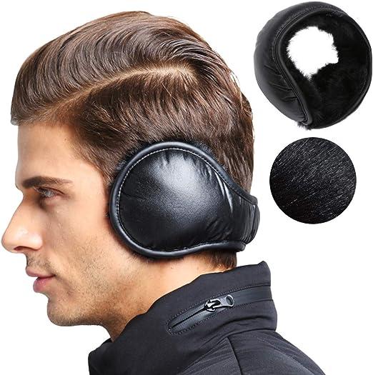 Men's Waterproof Ear Warmers Unisex Fleece Earmuffs Adjustable Ear Muffs  Behind Head at Amazon Men's Clothing store