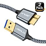 USB 3.0 Micro Cable, JSAUX 2 Pack (3.3ft+6.6ft) USB 3.0 A to Micro B Cable Charger Nylon Braided Cord for Samsung Galaxy S5, Note 3, Note Pro 12.2, Tab Pro 12.2, Hard Drive, Camera and More (Grey)