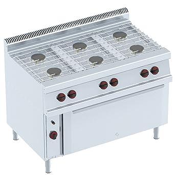 Macfrin 35922 Cocina a Gas de 6 Fuegos y Horno 37 Kw: Amazon ...