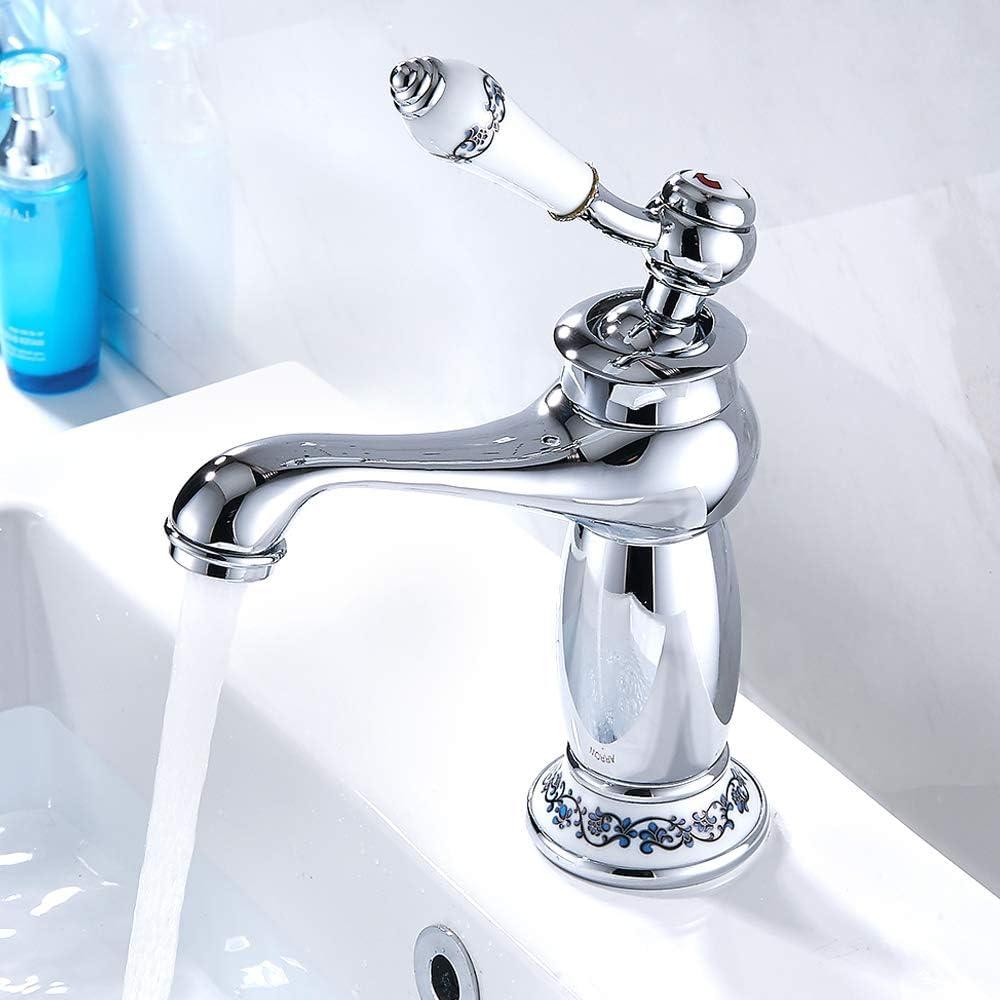 Grifo Mezclador de Lavabo de Baño de Agua Caliente Fría con una Sola Manija