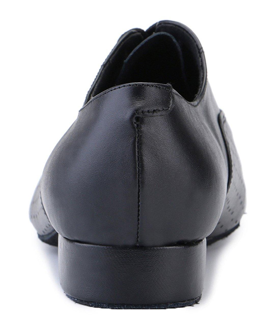 0bec20c49 TDA Zapatos clásicos de cuero con cordones para hombre Zapatos de boda de  baile latina Puñetazo negro-2.5cm talón