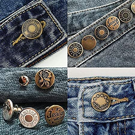 Jean & Jacket Buttons Adjust Waist, Size or Use for Replacement, No Sew Pins Create Instant Button - 4 Pack (4 Styles)