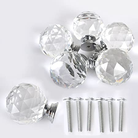 MODERN EXTRA LARGE 8 X 40 Mm Crystal Glass Furniture Cupboard Door Knobs Drawer