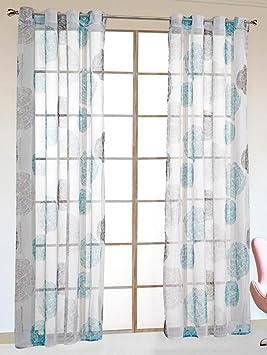 Simpvale 2 Pieces Rideaux Voilage Transparent Oeillets Géométrique