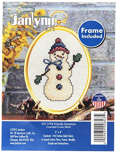 ount Friendly Snowman Mini Counted Cross Stitch Kit, 3