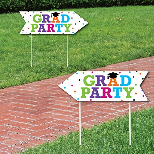 Hats Off Grad - Graduation Party Sign Arrow - Double Sided Directional Yard Signs - Set of 2 ()