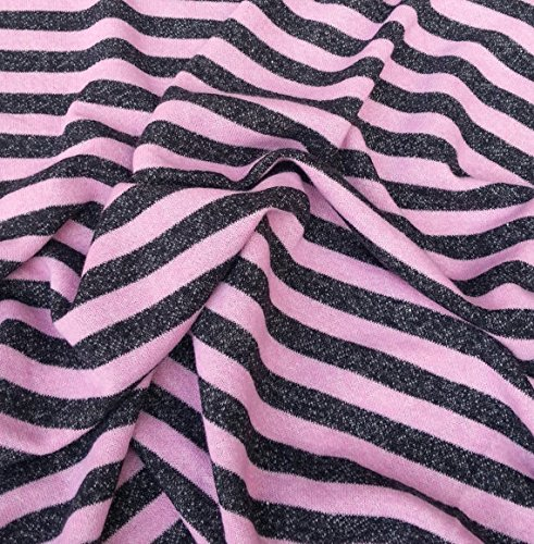 - Cotton Spandex French Terry Knit Fabric by the Yard Charcoal Pink Stripe 62