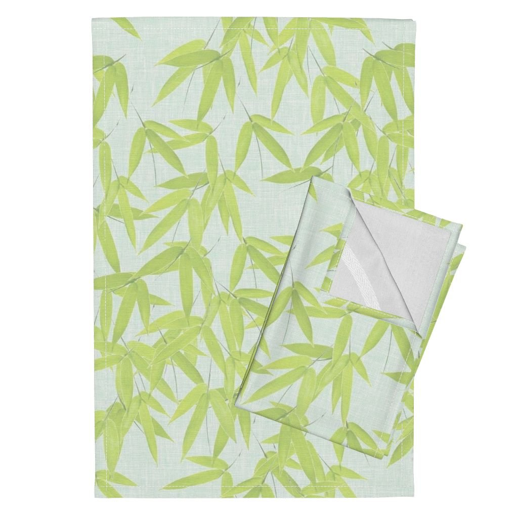 Roostery Spring Bamboo Leaves Foliage Fabric Tea Towels Nantes Bamboo Leaves/Spa by Willowlanetextiles Set of 2 Linen Cotton Tea Towels
