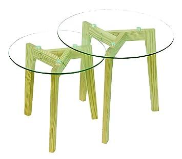 Athena Set Von 2 Nistkasten Tisch Klar Gehärtetem Glas, Pinie Massiv Beine,  Transparent/