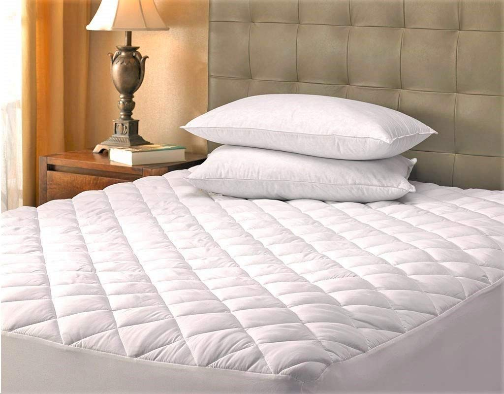 Better Home Quilted Mattress Pad with Fitted Stretch Skirt, Hypoallergenic, Durable Comfort and Protection (King)
