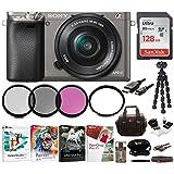 Sony Alpha a6000 Mirrorless Camera [Graphite] w/16-50mm Lens & 128 GB SD Bundle