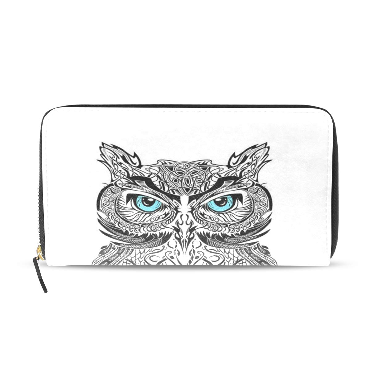 Womens Wallets Black And White Owl Leather Passport Wallet Coin Purse Girls Handbags